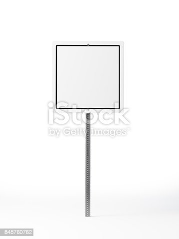 Square white traffic sign isolated on white background. Traffic sign is outlined with black color. Vertical composition with copy space. Clipping path is included.