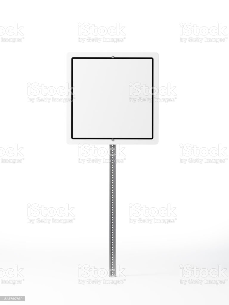Square Traffic Sign Isolated on White Background stock photo