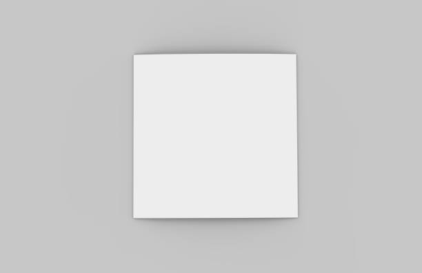 square tri-fold brochure mock-up on isolated white background, 3d illustration - square shape stock pictures, royalty-free photos & images