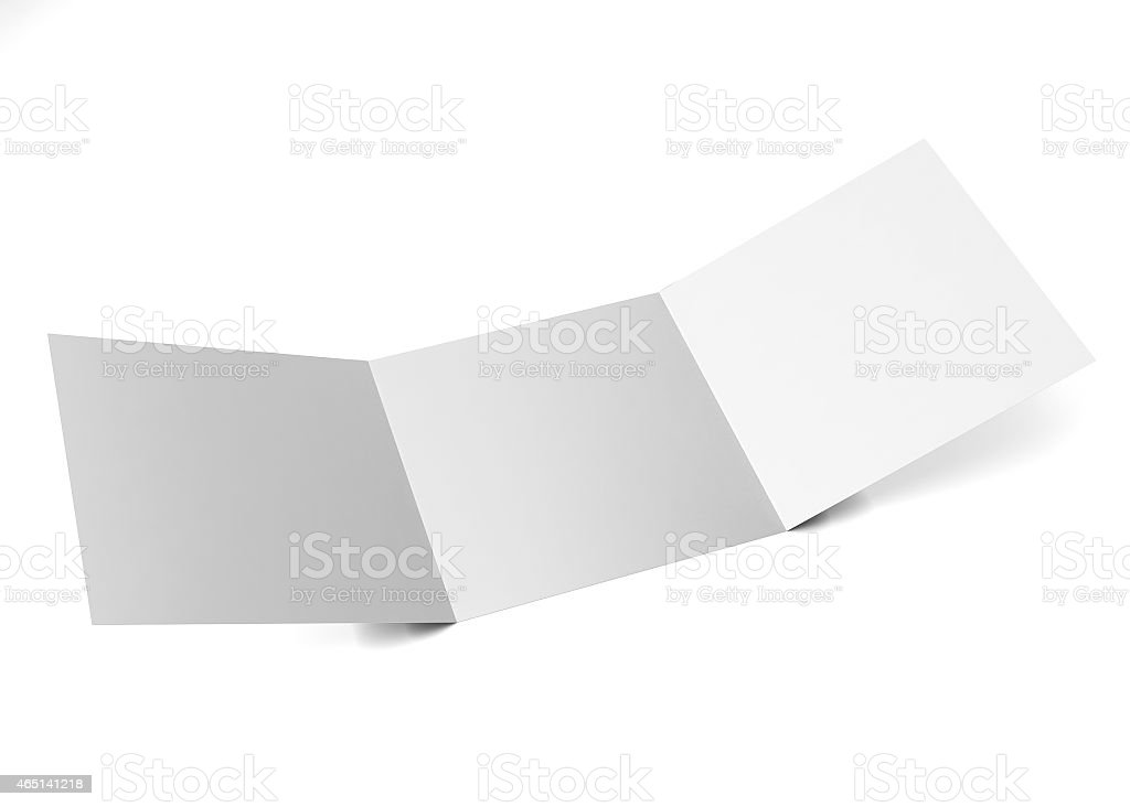 Square trifold marketing brochure stock photo