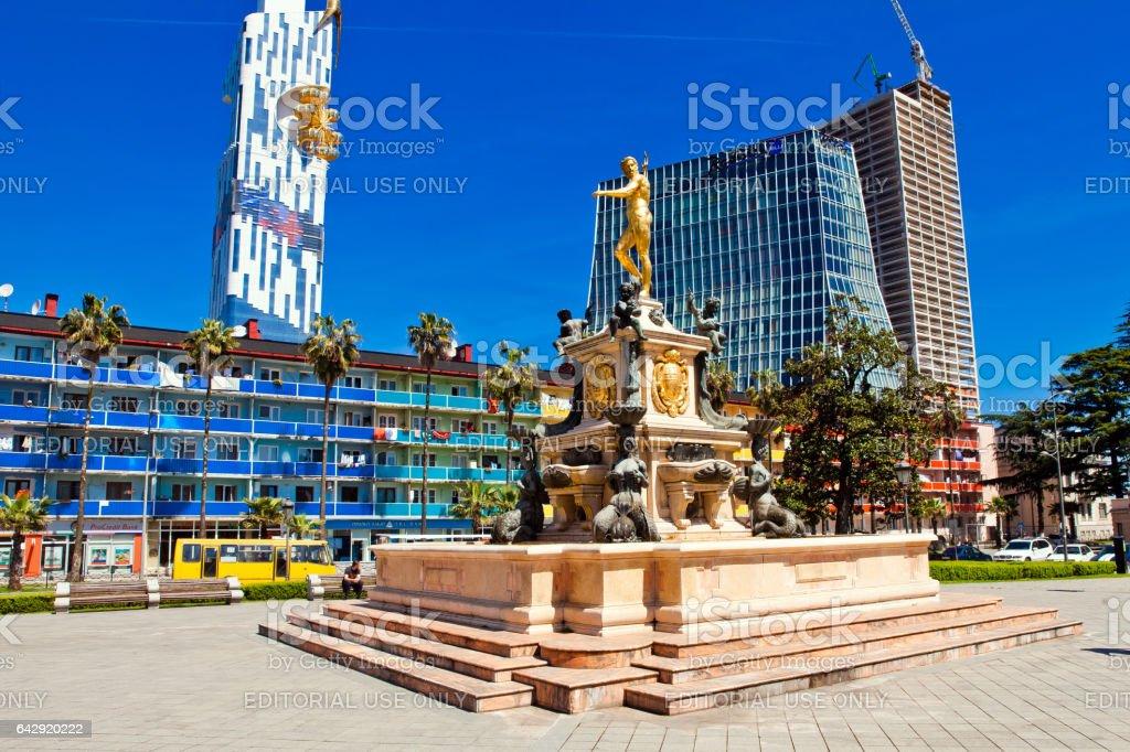 Square view with Neptune fountain in Batumi, Georgia. stock photo