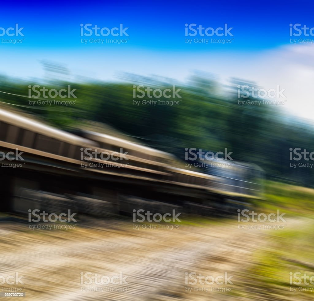 Square vivid cargo train in motion abstraction background backdr stock photo