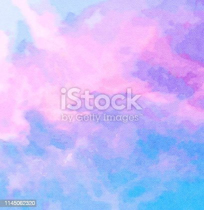 852187968 istock photo Square Watercolor abstract painting of sunset sky with pink and blue. 1145062320