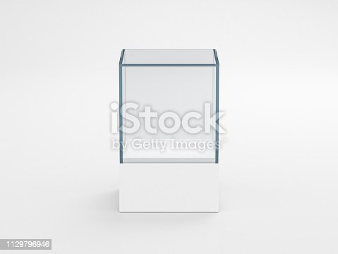 istock Square white glass showcase box mockup, front view isolated on gray 1129796946