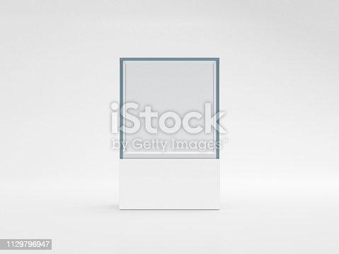 istock Square white glass showcase box mockup, isolated on gray 1129796947