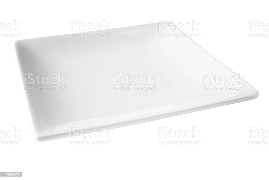 Square White Plate Isolated  with Clipping Path royalty-free stock photo