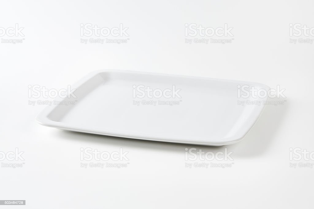 Square white plate stock photo