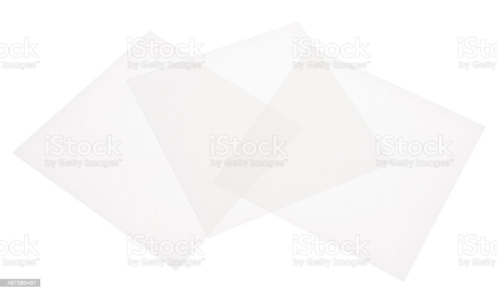 Square White Translucent Paper on White Background stock photo
