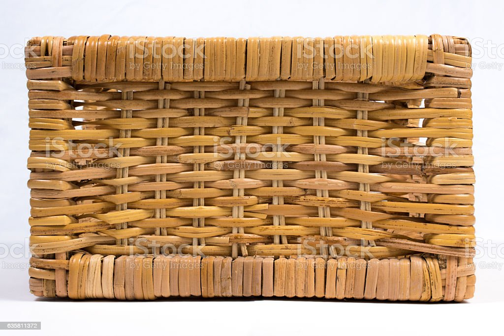 Square Wicker Basket Isolated on White Front View stock photo