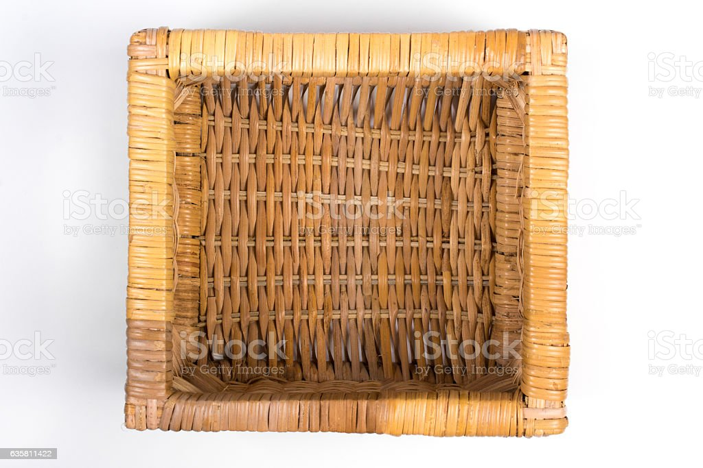 Square Wicker Basket Isolated on White Top View stock photo
