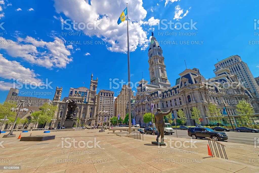 Square with sculptures and Philadelphia City Hall stock photo
