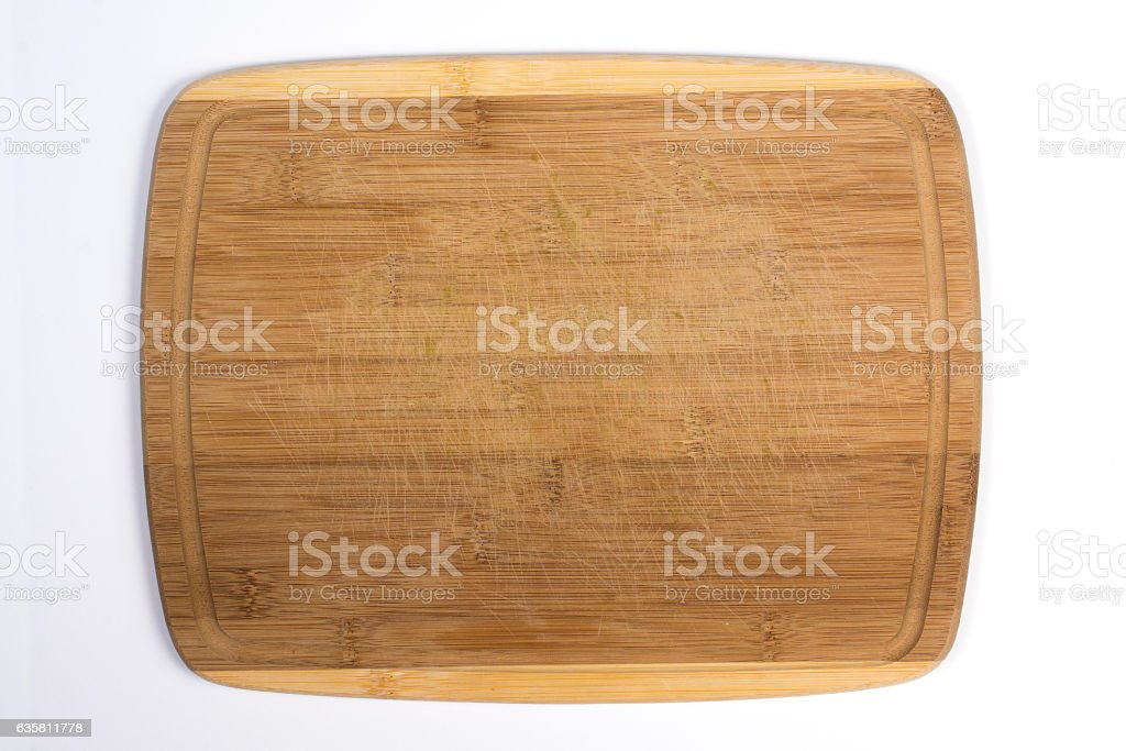 Square Wooden Cutting Board Isolated on White Top View stock photo