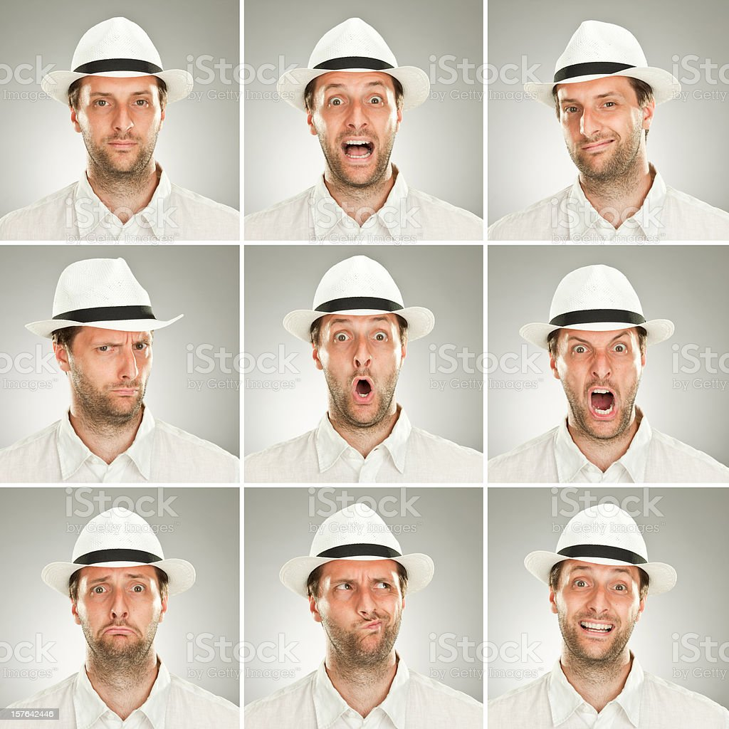 square young man emotion expressions set grey background with ha royalty-free stock photo