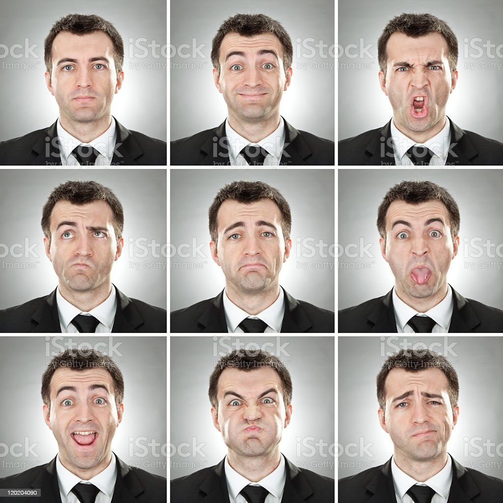 squared caucasian business man with short hair expression collection stock photo