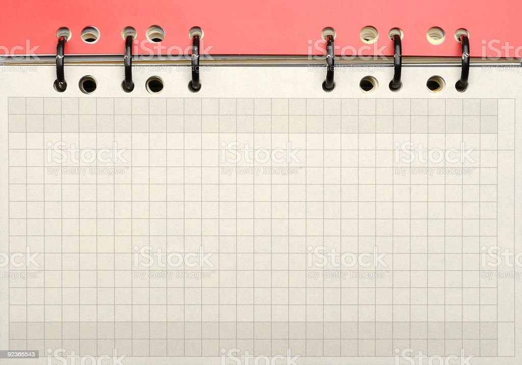 Squared paper blank page spiral binding personal organizer royalty-free stock photo