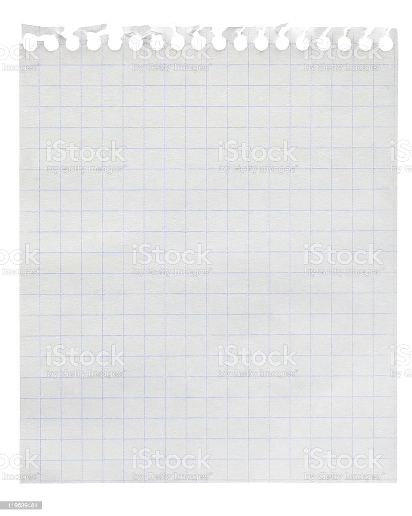 Squared paper loose-leaf note sheet isolated on white royalty-free stock photo