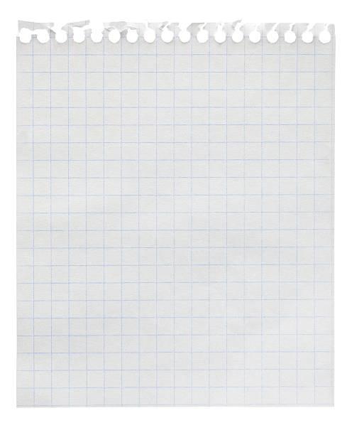 largo quadrados de papel nota de folha folha isolado a branco - folha de caderno imagens e fotografias de stock