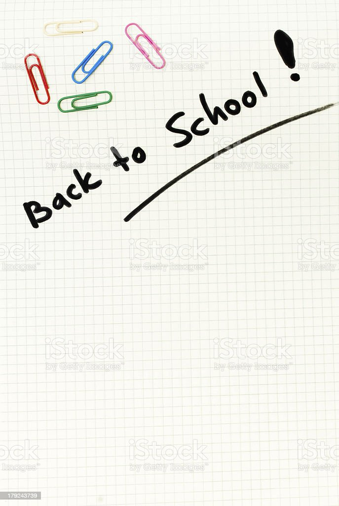 Squared paper white blank back to school background stock photo