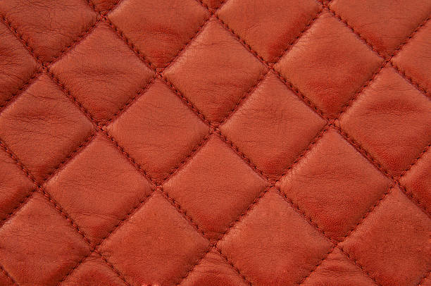 Squared red leather stock photo