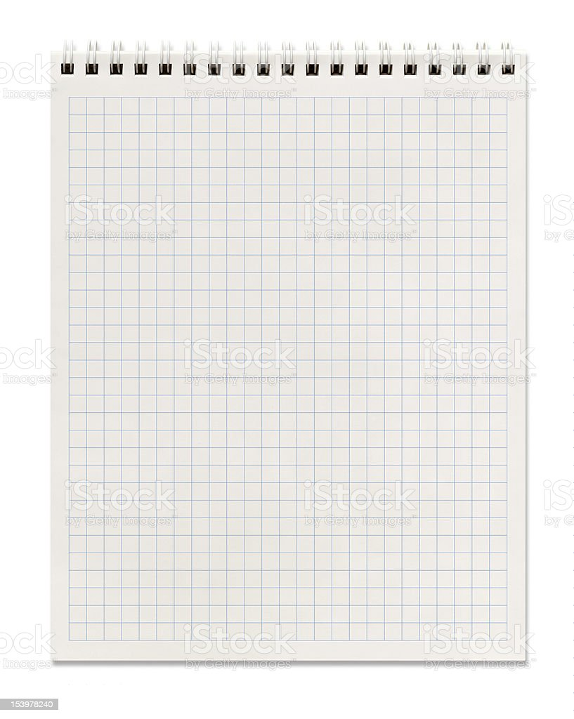 squared spiral notebook stock photo