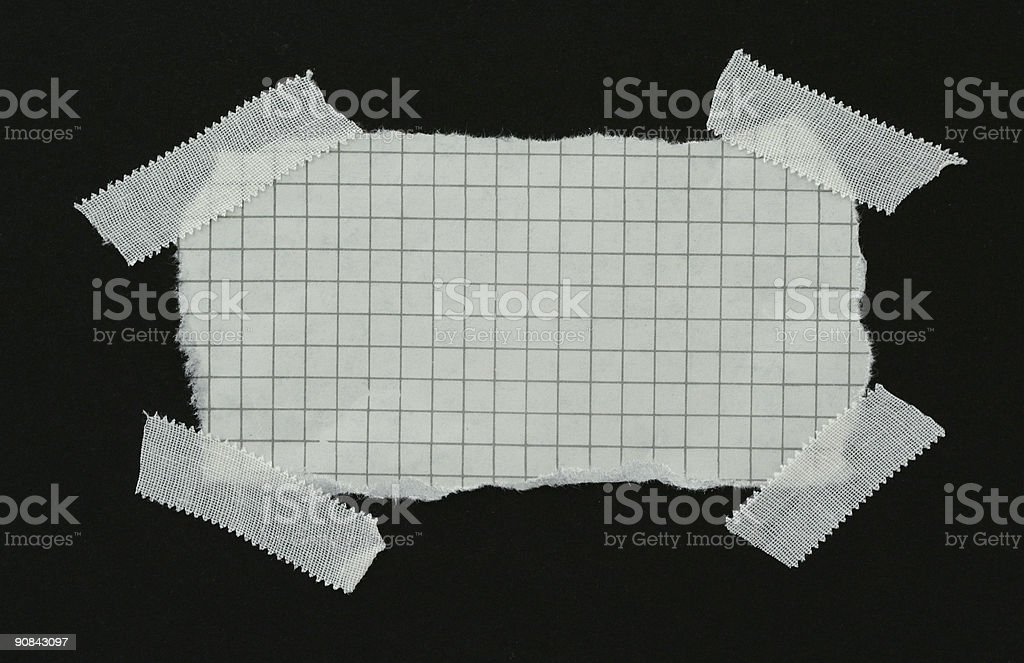squared strip of paper with white plaster pieces royalty-free stock photo