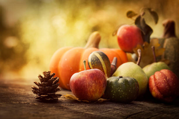 Squash and apple fall arrangement stock photo