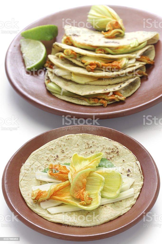 squash blossom quesadillas, Mexican food stock photo
