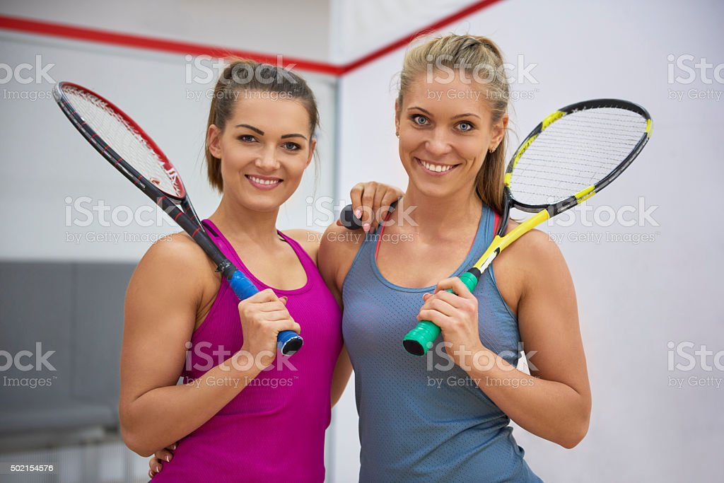 Squash is their favorite sport stock photo