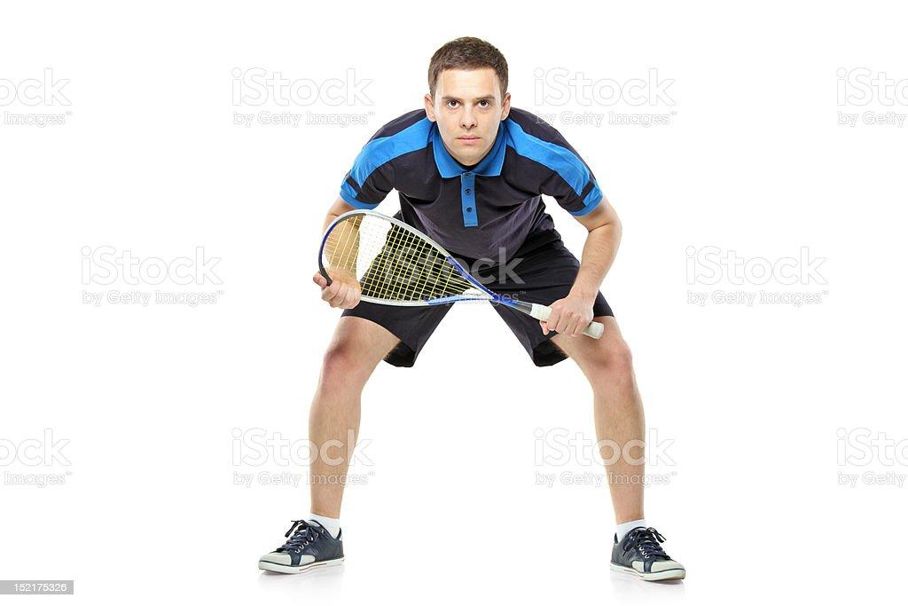 Squash player preparing for service stock photo