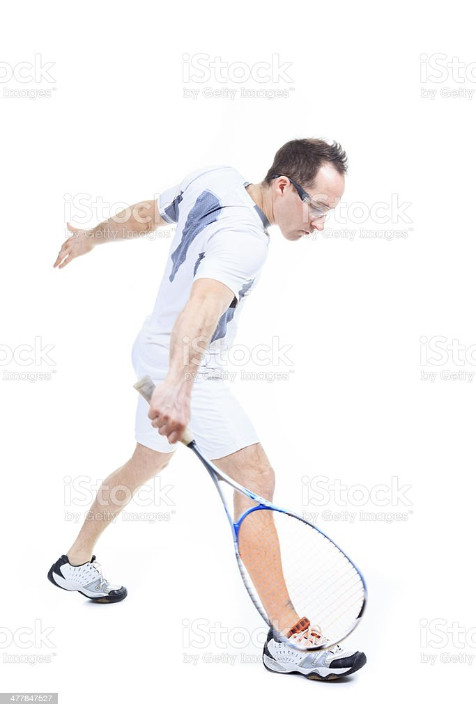 Squash Player White background royalty-free stock photo