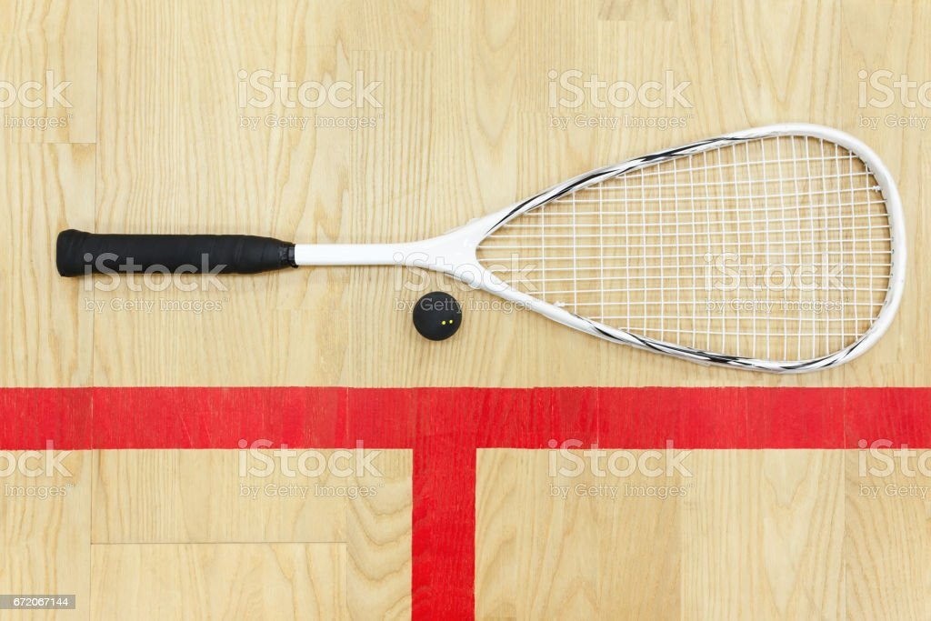 squash racket and ball top view stock photo