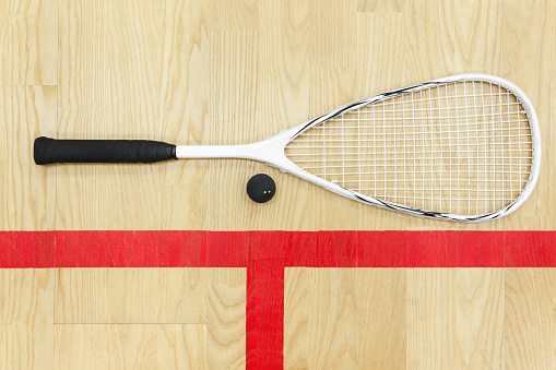 Squash Racket And Ball Top View Stock Photo - Download Image Now