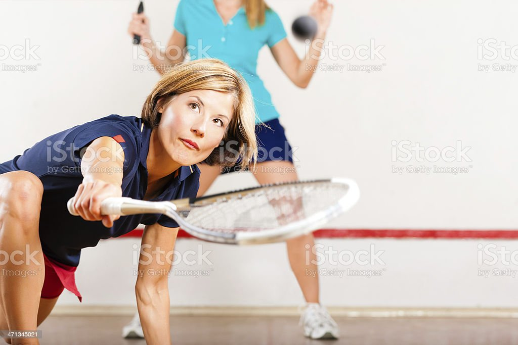 Squash racket sport in gym stock photo