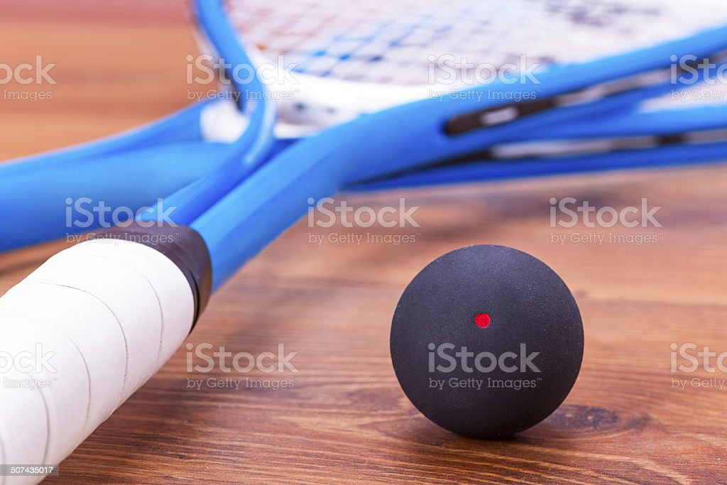 Squash rackets and balls stock photo