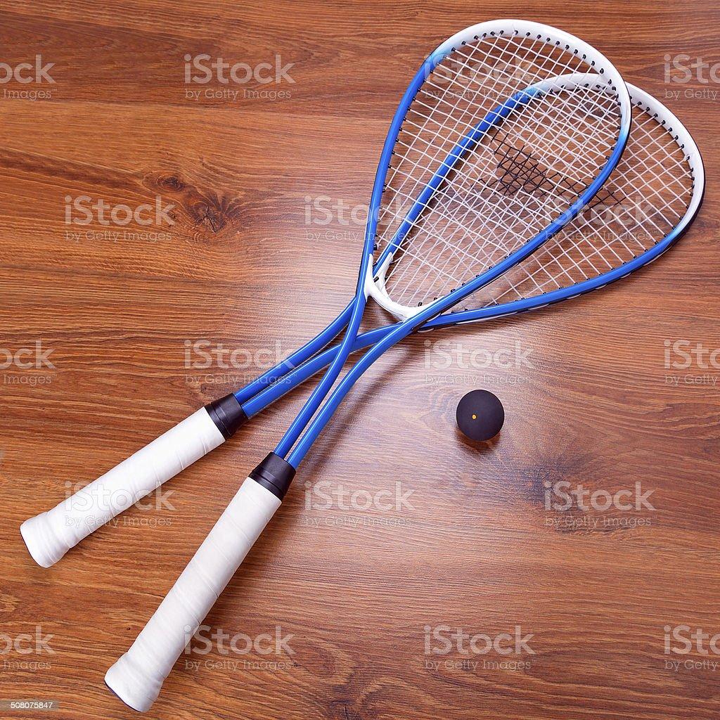 Squash rackets and balls stock photo