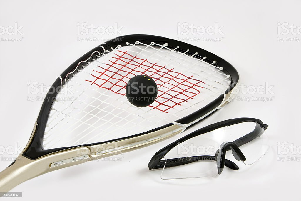 Squash racquet, ball and safety glasses royalty-free stock photo