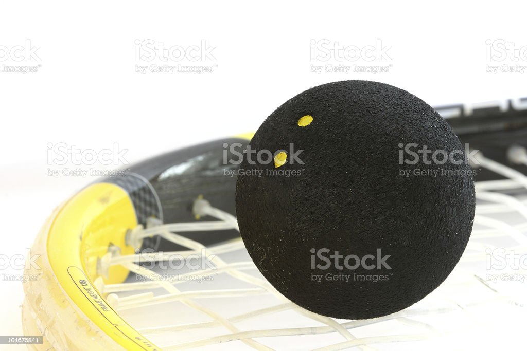 Squash rocket with ball detail stock photo