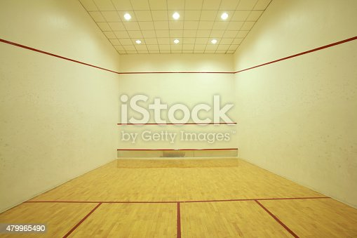 Empty squash room with lighting