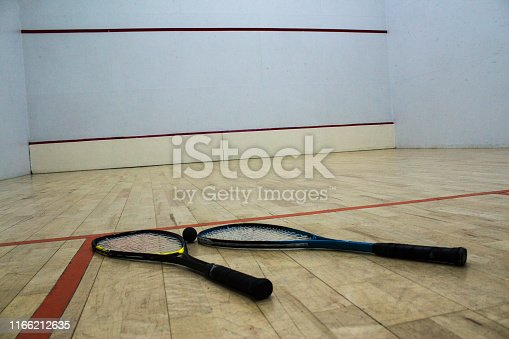 squash rackets with ball in the squash hall