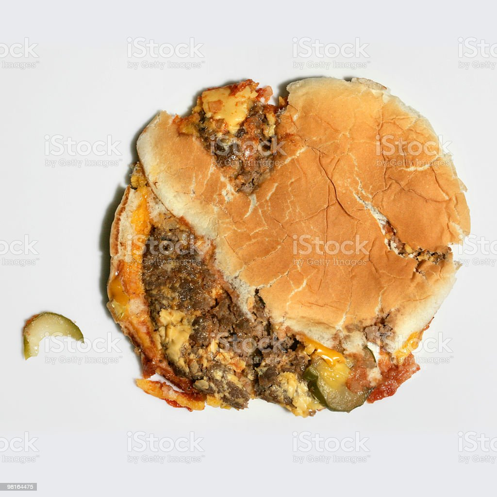 Squashed Food - Cheeseburger stock photo