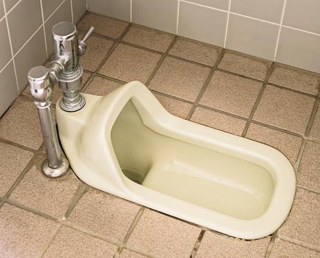 A public squat toilet in Asia.