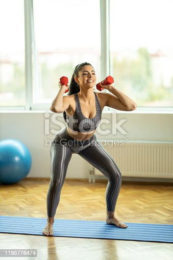 1035512048istockphoto Squats and dumbbells 1195776474