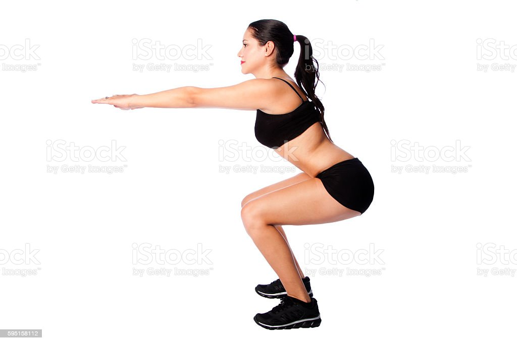 Squats fitness sport training gym workout stock photo