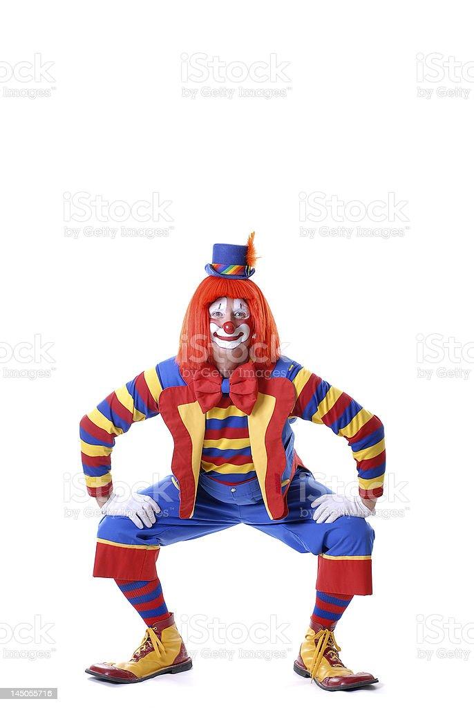 Squatting Circus Clown royalty-free stock photo