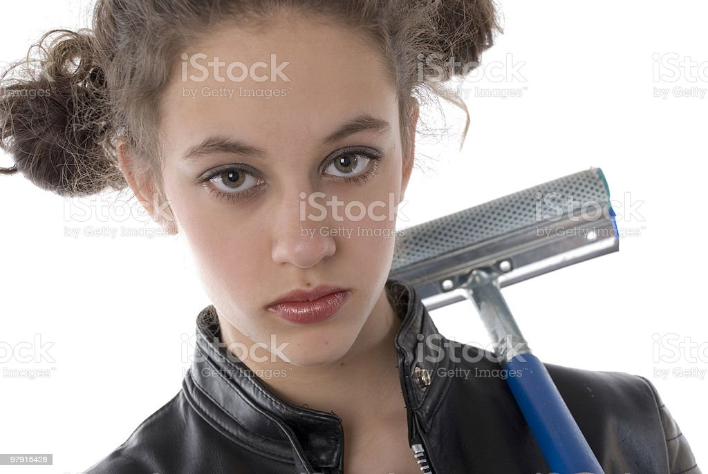 Squeegee girl royalty-free stock photo