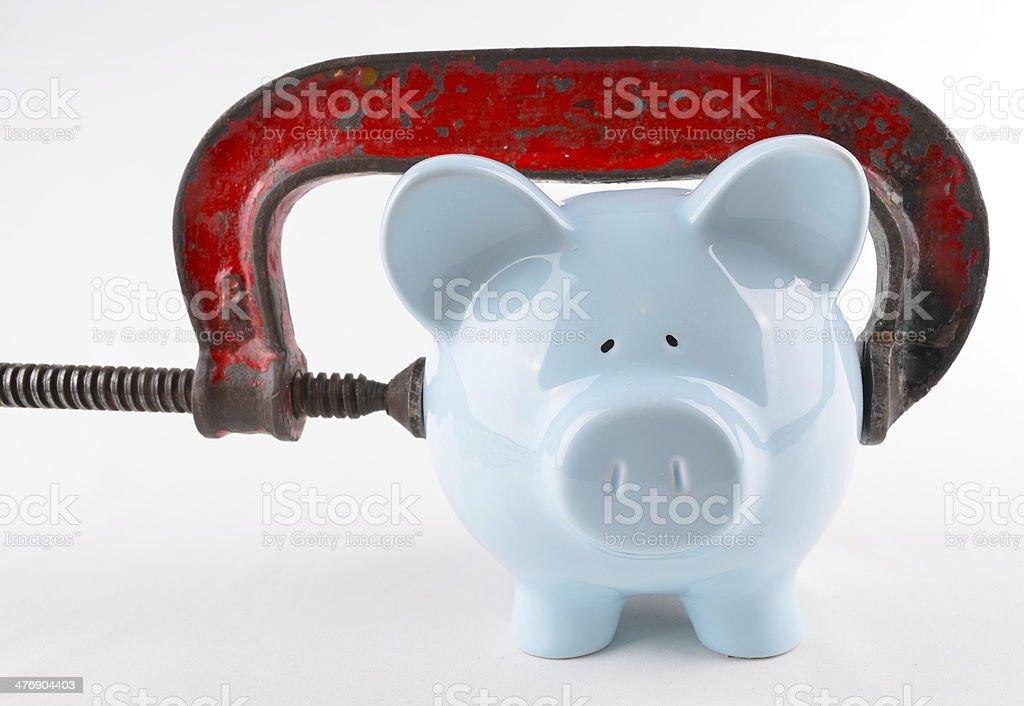Squeeze on Savings/Spending stock photo