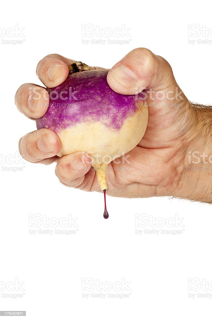 Squeezing Blood Out Of Turnip stock photo