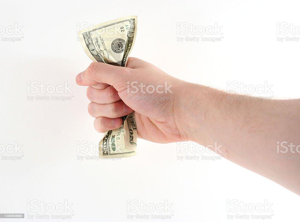 Squeezing Cash stock photo
