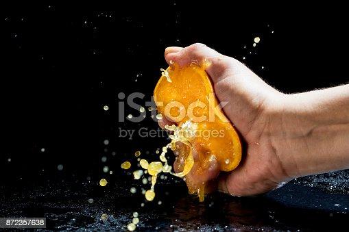 Woman's hand squeezing orange