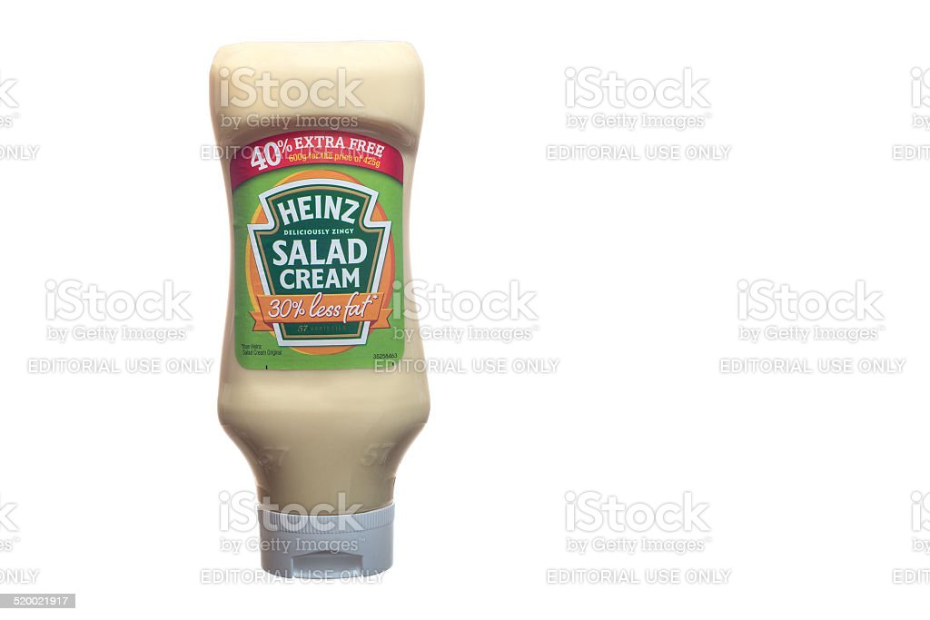Squeezy bottle of reduced fat Heinz salad cream stock photo